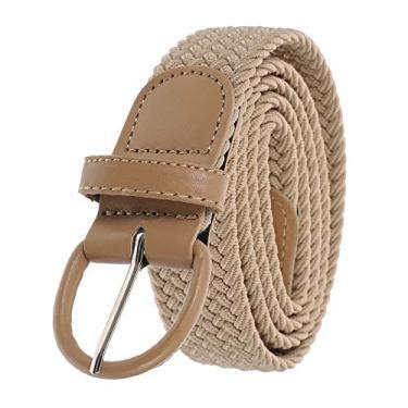 SOIMISS Cinto de fivela unissex tecido com cinto na cintura, Bege, 105X3.5CM