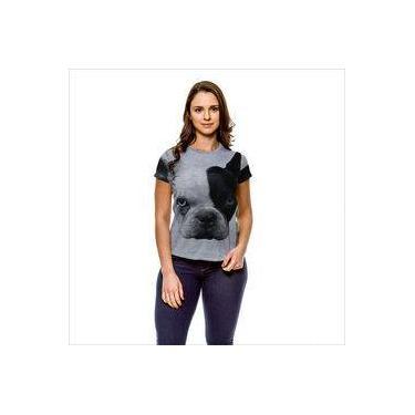 05e0d5cbb Camiseta Cachorro Bulldog Francês Branco e Preto Olhos Azuis Cinza Feminina