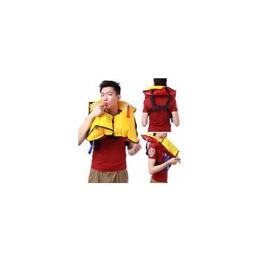 Imagem de Colete salva-vidas inflável manual / automático de natação Rafting Snorkeling Colete adulto 150n Colete salva-vidas (Cor: vermelho e amarelo)