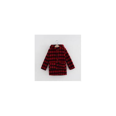 Casaco infantil da moda xadrez com botão de fechamento jaqueta com capuz Casaco de lã
