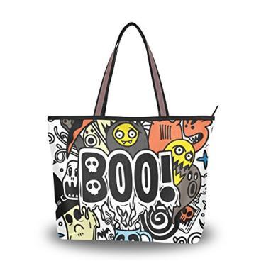 Bolsa de ombro feminina com alça superior e desenho animado com tema de Halloween, Multicolorido., Medium