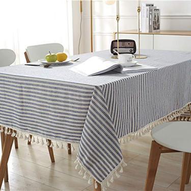 Imagem de Hengqiyuan Linenablecloth toalhas de mesa, toalha de mesa de algodão com borla, capa de mesa retangular de algodão, mesa de mesa, mesa, mesa quadrada, mesa redonda, azul, 140 x 250 cm