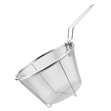 HEMOTON O Aço Inoxidável Cesta Fritar Dobrável Lidar Com Skimmer Colher Colher Concha Coador Fritadeira Batata Frita Chips de Fritura de Alimentos para Titular Fritar Macarrão