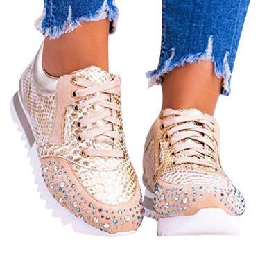Imagem de JOLIXIEYE Elegante sapato ortopédico confortável com strass de cristal, tênis esportivo de corrida casual, Dourado, 40 M EU
