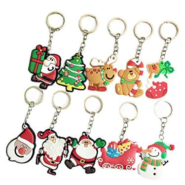 Imagem de VALICLUD Chaveiro com tema de Natal 10 peças de PVC chaveiro criativo pingente decorações para chave de carro bolsa presente (padrão aleatório)