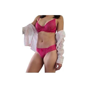 Conjunto Lingerie com renda rosa