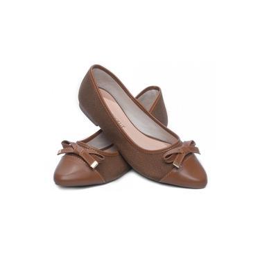 Sapatilha Feminina Torricella - Tecido Palha Caramelo e Napa Caramelo c/ Laço- - Bico Arredondado - Super Confortavel