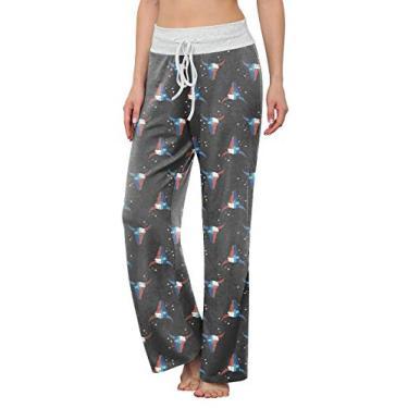 LONGYUAN Calça de pijama feminina confortável, casual, elástica, com cordão, palazzo, pernas largas para todas as estações, Estrelas de boi floral, XL