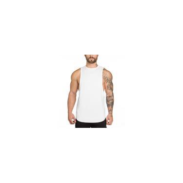 Hurdle em branco Cotton soltas Vest longo de Fitness Sports Men Verão Vest Base de Dados-LU