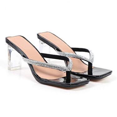 GATUXUS Sandália feminina sexy transparente salto alto grosso sandália bico quadrado chinelos confortáveis mule sandálias, Preto, 9
