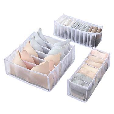 Imagem de Rinme Organizador de roupa íntima – Organizador de gavetas, divisória organizadora de sutiãs, caixa de armazenamento dobrável para armário pequeno organizador de cômodas, conjunto de divisórias de gaveta para meias de roupa íntima, 3 peças/conjunto