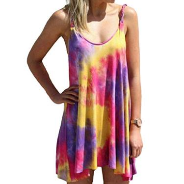 SAFTYBAY Minivestidos Tie Dye para mulheres, vestido casual de alças finas, vestido de verão para praia, plus size, Roxa, L