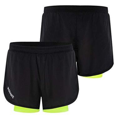 Imagem de Shorts de corrida masculino Funien com forro mais longo 2 em 1 – Short respirável de secagem rápida para exercícios de corrida e ciclismo
