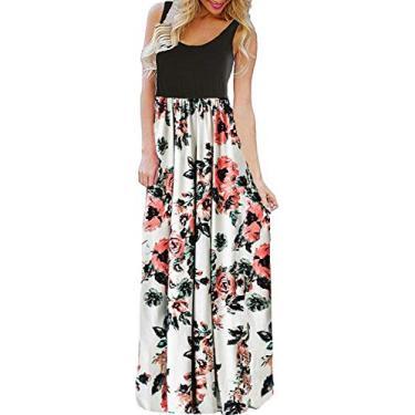 Imagem de Bluetime vestido longo sem manga estampa floral Boho verão (P-3GG), Branco, L