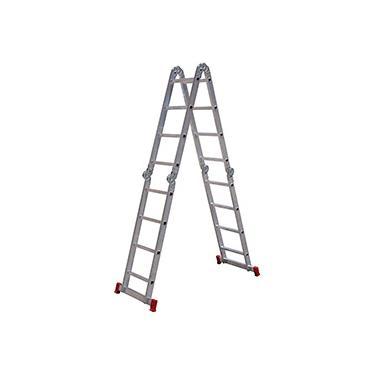 Escada Articulada Botafogo Lar&Lazer 4 x 4 em Alumínio 16 Degraus