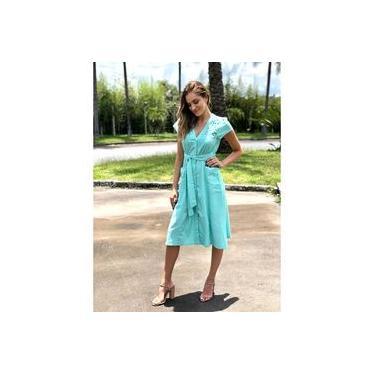 Vestido Midi Linho Feminino Boutique La Luna Rose Verde