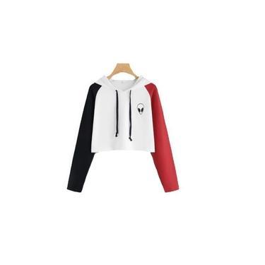 Blusa de Moletom Cropped Et Alien Space Ref02 Com Capuz Modelo Curto Cor Branco com Mangas Preta/Vermelha