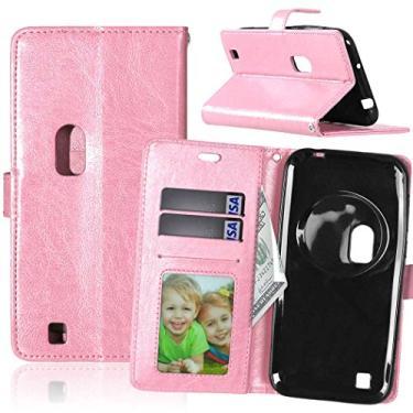 Capa para Asus ZenFone Zoom ZX550ML ZX551ML 5.5inch proteção de couro PU com 3 compartimentos para cartões capa flip (rosa)