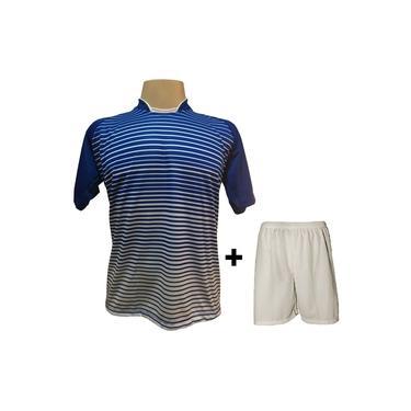 Uniforme Esportivo com 12 camisas modelo City Royal/Branco + 12 calções modelo Madrid Branco +
