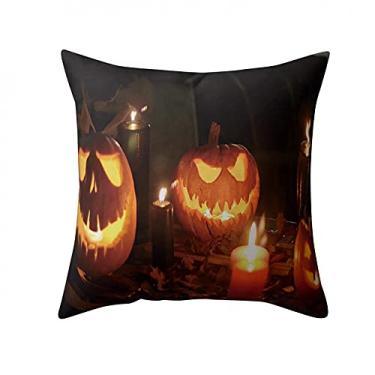 Imagem de SL&LFJ Capa de almofada de algodão tema Halloween Capa de almofada para decoração de escritório para sofá cama, decoração de carro, decoração de festa, festival, sala de estar, presente para amigos da família (cor: A)