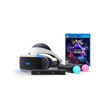 PS4 - Playstation VR Headset de Realidade Virtual Kit Com 2 Moves Camera e Jogo - Sony