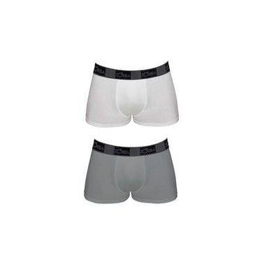 Kit Com 2 Cuecas Boxer Zorba Em Algodão Com Elastano Branco/grafite