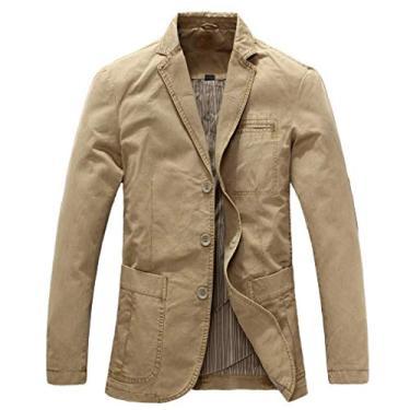 Blazer masculino SELX Plus Size Slim Fit Algodão Casual Sólido Business Dress Blazer Jaqueta Esportiva, Caqui, X-Large