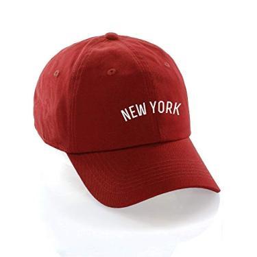 Imagem de Boné de beisebol Daxton USA Cities boné de algodão sem estrutura com tira traseira discreta, New York Red White, One Size