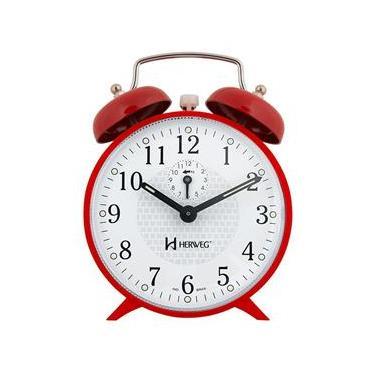 Imagem de Relógio Despertador a Cordas Campainha Vermelho Herweg