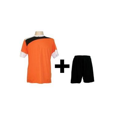 Uniforme Esportivo com 14 camisas modelo Sporting Laranja/Preto/Branco + 14 calções modelo Madrid Preto +