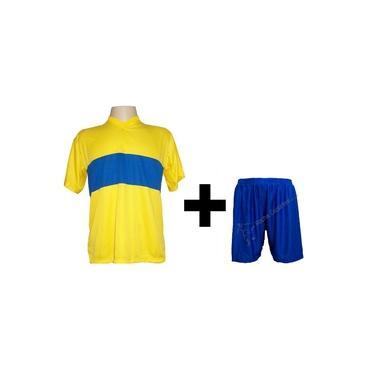 Uniforme Esportivo com 14 camisas modelo Boca Juniors Amarelo/Royal + 14 calções modelo Madrid Royal +