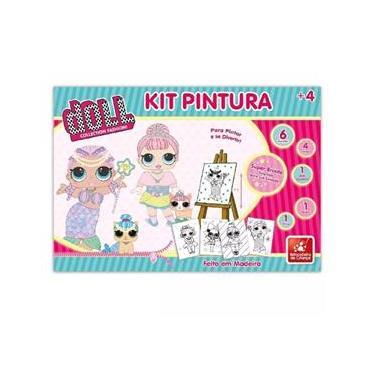 Imagem de Kit Pintura Doll Cavalete Em Madeira 45cm Com 13 Peças - Brincadeira De Criança