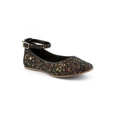 Sapato Inf Feminino Bibi Slim Flat Gliter/Preto 991048 (4825