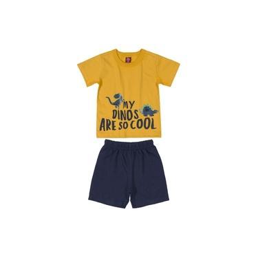 Conjunto Bee Loop Camiseta Mostarda E Bermuda em Moletinho Azul Marinho