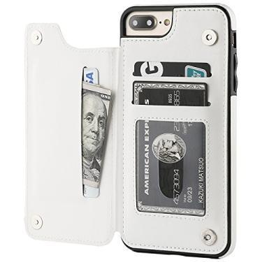 """Capa Case Carteira iPhone 7 PLUS e iPhone 8 PLUS - Multifuncional 2 em 1 - Porta cartão e case. Tamanho 5.5"""" (iPhone 7/8 PLUS Branca)"""