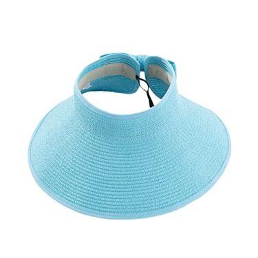Romacci Chapéu de praia feminino de aba larga com viseira de sol UV FPS 50+, Azul claro, tamanho �nico
