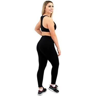 Imagem de Calça Legging Feminina Cós Alto - Poliamida Fitness - Roupa Para Academia e Yoga - Preto (M)