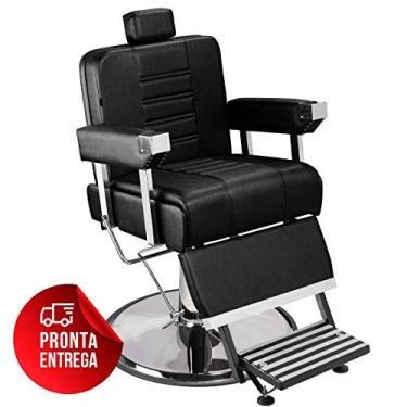 Cadeira de Barbeiro Detroit com Encosto e Apoio de Pé Reclináveis - Pé Cromado - Preto - PRONTA ENTREGA