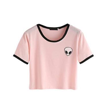 Imagem de SZT Camiseta feminina para meninas linda alienígena cropped amarrada nó barril camiseta venda de blusa, Rosa 01, M