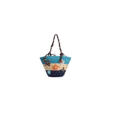 Bolsa de ombro feminina verão praia coral cana de palha feito à mão nova