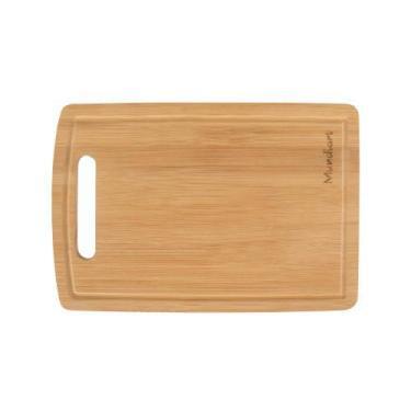 Imagem de Tábua Corte Carne Churrasco Bambu 33x24cm Rústica Cozinha Funcional Su