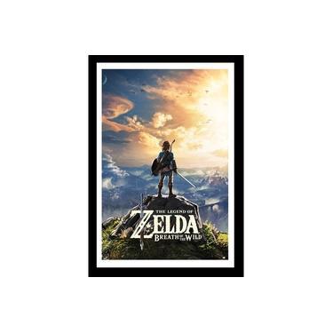 Quadro Com Vidro Zelda Breath Of The Wild Jogo 40x60 Cm