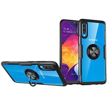 Celular Samsung Galaxy A50/A30S/A50S Capa de anti-queda ultra-fina capa protetora combinação macia e dura um anel magnética de carro Suporte Case envoltório completo Protector:preto