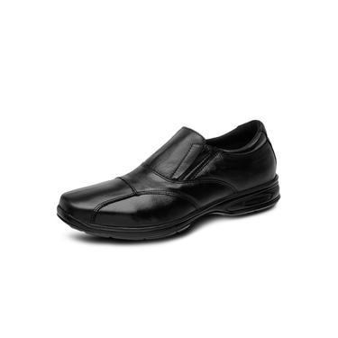 Sapato Masculino Social Conforto Pierrô couro legítimo preto todo espumado sola de borracha
