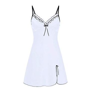 WonderBabe Pijama feminino pijama com decote em V calcinha de cetim renda anágua pijama sexy mini camisola Branco-L