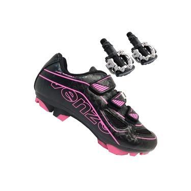 Sapatilha Mtb Ciclismo Venzo Evo Vsx Rosa + Pedal Shimano M520