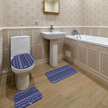 Imagem de Jogo de Banheiro Abstrato Azul Marinho Único
