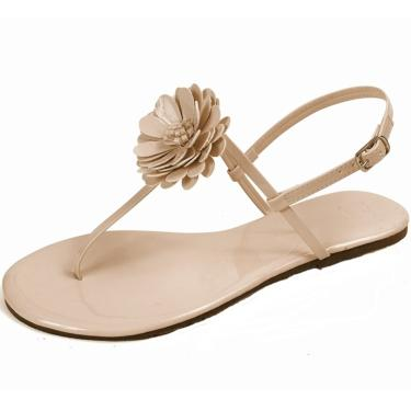 Rasteira Mercedita Shoes Flor Verniz Gelo  feminino