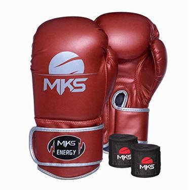 Kit Luva de Boxe MKS Energy V2 Metalic Red e Bandagem Preta 2,55m (18 oz)