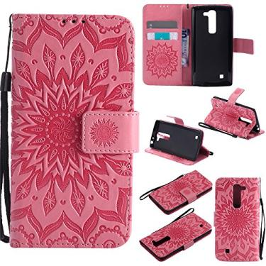 Capa carteira XYX para LG Volt 2, [Sun Flower] Couro PU premium fecho magnético TPU bumper capa slim fit para LG Volt 2/LG Magna/LG G4 Mini/LG G4C, rosa